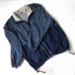 Vintage 90s Nike Nylon Blue Print Windbreaker Sz M
